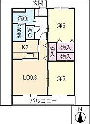 サニーウイング大野壱番館[2階]の間取り