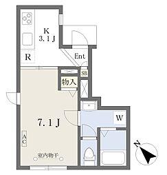 都営浅草線 戸越駅 徒歩10分の賃貸アパート 1階1Kの間取り