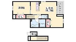 JR加古川線 滝野駅 徒歩11分の賃貸アパート 2階1LDKの間取り