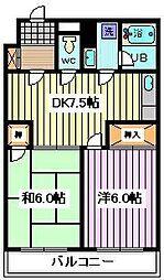 埼玉県戸田市本町2丁目の賃貸マンションの間取り