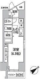 都営大江戸線 汐留駅 徒歩4分の賃貸マンション 9階1Kの間取り