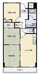 リープハーベン八尾木[4階]の間取り