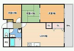 プラネット藤井寺[6階]の間取り