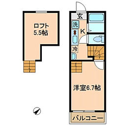 神奈川県横浜市旭区さちが丘の賃貸アパートの間取り