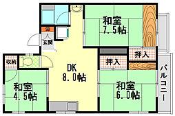兵庫県神戸市垂水区歌敷山2丁目の賃貸アパートの間取り