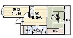 大阪府守口市菊水通3丁目の賃貸アパートの間取り