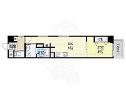 Osaka Metro谷町線 南森町駅 徒歩4分の賃貸マンション 6階1DKの間取り