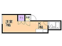 フラワーリバーII 3階1Kの間取り