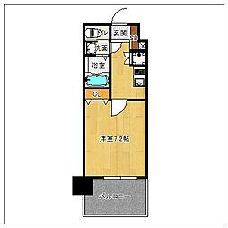 サヴォイコートオブアームズ 14階1Kの間取り