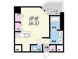 阪神本線 西宮駅 徒歩4分の賃貸マンション 4階ワンルームの間取り