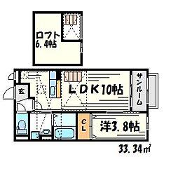ピュアハート武庫之荘[2階]の間取り