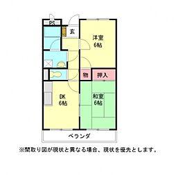 愛知県岩倉市稲荷町樋先の賃貸マンションの間取り