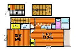 岡山電気軌道清輝橋線 清輝橋駅 徒歩24分の賃貸アパート 3階1LDKの間取り