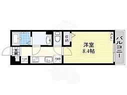 リブリ・摂津庄屋 1階1Kの間取り