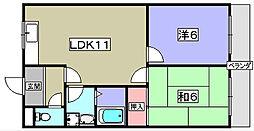 男山オークマンション[3階]の間取り