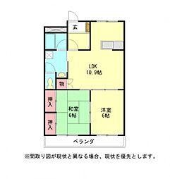 愛知県小牧市中央3丁目の賃貸マンションの間取り