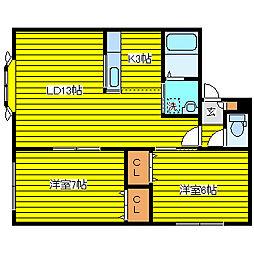 モデュロールN483−III[2階]の間取り