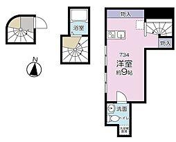 Big Apple 新宿West 3階ワンルームの間取り