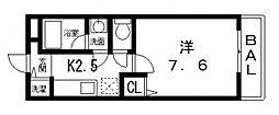 フジパレス弓削[2階]の間取り