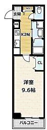 A-mon観月橋NIHUN 4階1Kの間取り