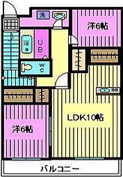 埼玉県川口市南鳩ヶ谷3丁目の賃貸アパートの間取り