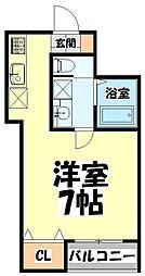 仙台市営南北線 北四番丁駅 徒歩9分の賃貸アパート 3階ワンルームの間取り