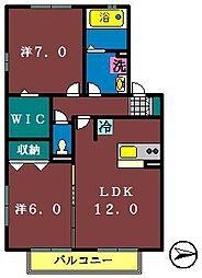 アムールA(大和田新田)[202号室]の間取り