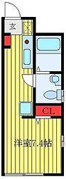 JR埼京線 板橋駅 徒歩7分の賃貸マンション 2階ワンルームの間取り