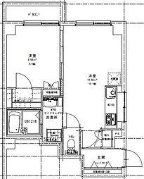 高輪チトセハイツ 5階1LDKの間取り