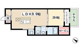 ディアコートII 1階1LDKの間取り