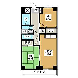 ヒルズ M1[5階]の間取り