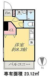京成本線 京成高砂駅 徒歩5分の賃貸マンション 2階ワンルームの間取り