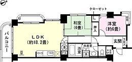 2LDK  和室6畳 洋室約6畳 LDK約18.2畳