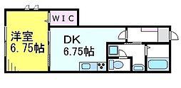 JR中央線 三鷹駅 徒歩10分の賃貸アパート 1階1DKの間取り