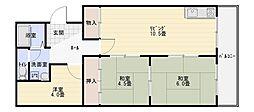チュリス久宝寺[4階]の間取り