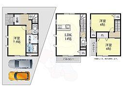 JR東海道・山陽本線 山崎駅 徒歩10分の賃貸一戸建て 1階3LDKの間取り