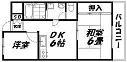 京阪本線 西三荘駅 徒歩13分の賃貸マンション 2階2DKの間取り