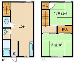 [テラスハウス] 兵庫県尼崎市田能3丁目 の賃貸【/】の間取り