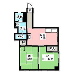 コーポヤマギワ[5階]の間取り
