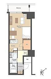 新交通ゆりかもめ 竹芝駅 徒歩1分の賃貸マンション 5階ワンルームの間取り