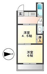 宝来苑[2階]の間取り