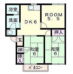 滋賀県東近江市東沖野1丁目の賃貸アパートの間取り