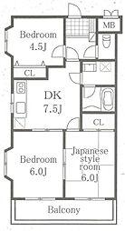 コスモ淵野辺[3階]の間取り