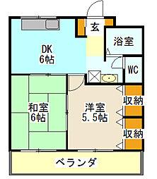 神奈川県横浜市金沢区六浦4丁目の賃貸マンションの間取り
