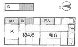 南塚口鍵田文化[203号室]の間取り