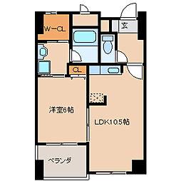 福岡県久留米市六ツ門町の賃貸マンションの間取り