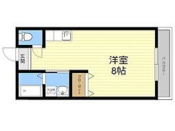 JR日豊本線 国分駅 徒歩35分の賃貸アパート 2階ワンルームの間取り