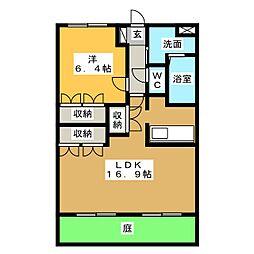 ガーデンヒルズ 1階1LDKの間取り