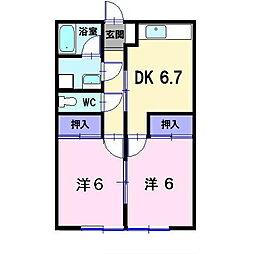 岡山県総社市駅前2丁目の賃貸アパートの間取り