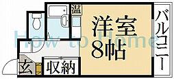 京都府京都市北区上賀茂東上之段町の賃貸マンションの間取り